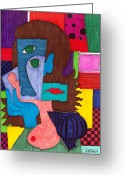 Bright Drawings Greeting Cards - Woman Exposing Breast Greeting Card by Teddy Campagna