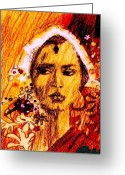 Ocean Art Greeting Cards - Woman From India Greeting Card by Ocean