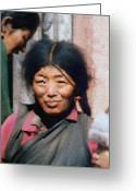 Native Portraits Greeting Cards - Woman from Tibet Greeting Card by Kurt Van Wagner