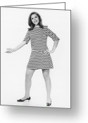 Hand On Hip Greeting Cards - Woman Gesturing In Studio, (b&w) Greeting Card by George Marks