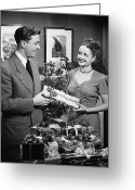 Wife Gift Greeting Cards - Woman Giving Gift To Man, (b&w) Greeting Card by George Marks