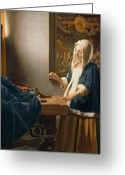 Equilibrium Greeting Cards - Woman Holding a Balance Greeting Card by Jan Vermeer