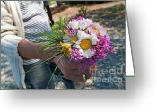 Holding Flower Greeting Cards - Woman holding a bunch of colorful flowers Greeting Card by Sami Sarkis