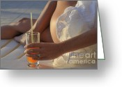 Sunbathing Greeting Cards - Woman holding cocktail glass while sunbathing Greeting Card by Sami Sarkis