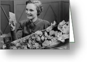 The Love Letter Greeting Cards - Woman Holding Flower Arrangement, Reading Card, (b&w) Greeting Card by George Marks