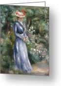 Short Hair Greeting Cards - Woman in a Blue Dress Standing in the Garden at Saint-Cloud Greeting Card by Pierre Auguste Renoir