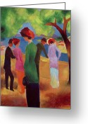 1913 Greeting Cards - Woman in a Green Jacket Greeting Card by August Macke