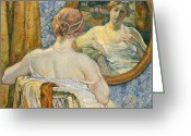 Wicker Chair Greeting Cards - Woman in a Mirror Greeting Card by Theo van Rysselberghe