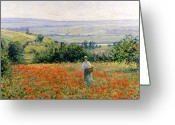 Picker Greeting Cards - Woman in a Poppy Field Greeting Card by Leon Giran Max