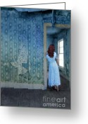 Old Abandoned House Greeting Cards - Woman in Abandoned House Greeting Card by Jill Battaglia