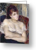 Cleavage Greeting Cards - Woman in an Armchair Greeting Card by Pierre Auguste Renoir