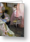 Drapery Greeting Cards - Woman in an Interior   Greeting Card by Albert Breaute