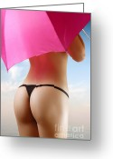 Sexiness Greeting Cards - Woman in Bikini with a Pink Umbrella Greeting Card by Oleksiy Maksymenko