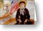 Femme Painting Greeting Cards - Woman in Boat with Canoeist Greeting Card by Renoir