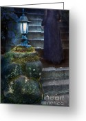 Pensive Greeting Cards - Woman in Dark Gown on Old Staircase Greeting Card by Jill Battaglia