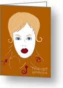 Brown Drawings Greeting Cards - Woman in Fashion Greeting Card by Frank Tschakert