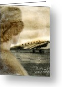 Mink Greeting Cards - Woman in Fur By a Vintage Airplane Greeting Card by Jill Battaglia