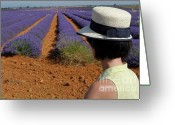 Contemplation Greeting Cards - Woman in hat contemplating lavender field Greeting Card by Sami Sarkis