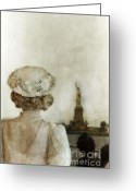 Flowered Dress Greeting Cards - Woman in Hat Viewing the Statue of Liberty  Greeting Card by Jill Battaglia