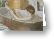 Washing Greeting Cards - Woman in her Bath Greeting Card by Edgar Degas