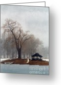 Quite Greeting Cards - Woman in Lace Gown by a Gazebo in Winter Greeting Card by Jill Battaglia