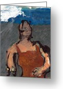 Taos Mixed Media Greeting Cards - Woman In Landscape 2 Greeting Card by JC Armbruster