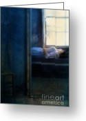 Nightgown Greeting Cards - Woman in Nightgown in Bed by Window Greeting Card by Jill Battaglia