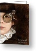 Jules Photo Greeting Cards - Woman in Steampunk Clothing  Greeting Card by Jill Battaglia
