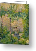 Jardins Greeting Cards - Woman in the Garden Greeting Card by Hippolyte Petitjean