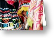 Custom Culture Greeting Cards - Woman In Traditional Hat Looking Through Textiles And Fabric Of Stall, Peru, South America Greeting Card by Richard I