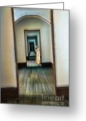 Wood Floors Greeting Cards - Woman in Vintage Gown in Hall of Doorways Greeting Card by Jill Battaglia