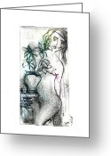 Color Reliefs Greeting Cards - Woman in Waiting Greeting Card by Lillian Michi Adams