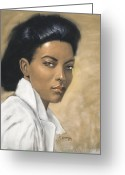 Originals Pastels Greeting Cards - Woman in  White Blouse Greeting Card by L Cooper