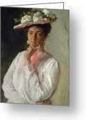 Half Length Greeting Cards - Woman in White Greeting Card by William Merritt Chase