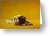 Nude Greeting Cards - Woman in Yellow Greeting Card by Horacio Cardozo