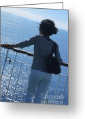 Contemplation Greeting Cards - Woman looking out to sea from deck of boat Greeting Card by Sami Sarkis