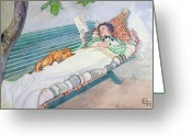 Watercolor On Paper Greeting Cards - Woman Lying on a Bench Greeting Card by Carl Larsson