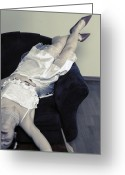 Unhappy Greeting Cards - Woman Lying On Chair Greeting Card by Joana Kruse