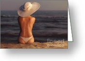 Sun Tan Greeting Cards - Woman on a Beach Greeting Card by Oleksiy Maksymenko