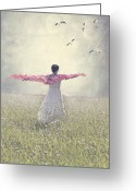 Scarf Greeting Cards - Woman On A Lawn Greeting Card by Joana Kruse