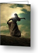 Lonely Greeting Cards - Woman On A Meadow Greeting Card by Joana Kruse