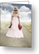 Evening Dress Greeting Cards - Woman On A Street Greeting Card by Joana Kruse