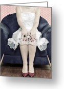 Varnish Greeting Cards - Woman On Chair Greeting Card by Joana Kruse