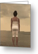 Melancholic Greeting Cards - Woman On The Beach Greeting Card by Joana Kruse