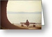 Shade Greeting Cards - Woman On The Shore Of A Lake Greeting Card by Joana Kruse