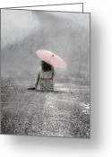 Umbrella Greeting Cards - Woman On The Street Greeting Card by Joana Kruse