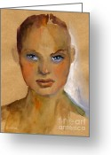 Custom Portrait Greeting Cards - Woman portrait sketch Greeting Card by Svetlana Novikova