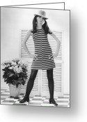 Hand On Hip Greeting Cards - Woman Posing In Studio, (b&w), Portrait Greeting Card by George Marks
