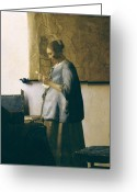 Bleu Greeting Cards - Woman Reading a Letter Greeting Card by Jan Vermeer
