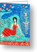 Dress Ceramics Greeting Cards - Woman Reading beside Fountain Greeting Card by Sushila Burgess